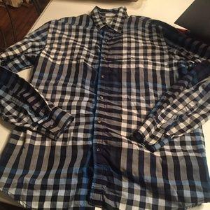 Lacoste blue plaid button down shirt size 40 M